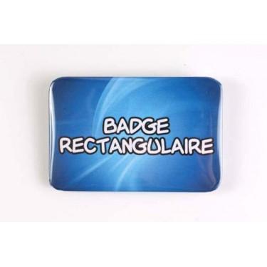 Badge 100% personnalisé rectangulaire (6 x 4 cm)
