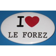 Badge I LOVE de forme ovale (7 x 4,5 cm)