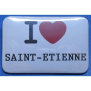 Badge I LOVE en forme de rectangle (6 x 4 cm)