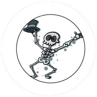 BADGESAGOGO.FR - Badge 25mm Squelette chapeau