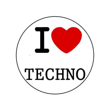 Badge 25mm I LOVE TECHNO