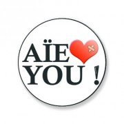 Badge aie love you 59 mm