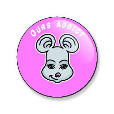 Badge ours addict (souricette) 25 mm