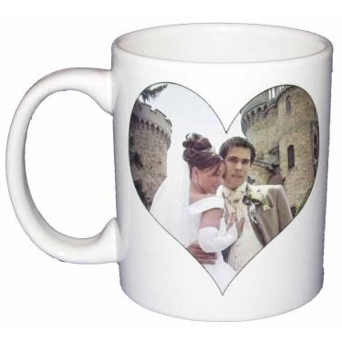 Mug personnalisé avec une photo en forme de coeur