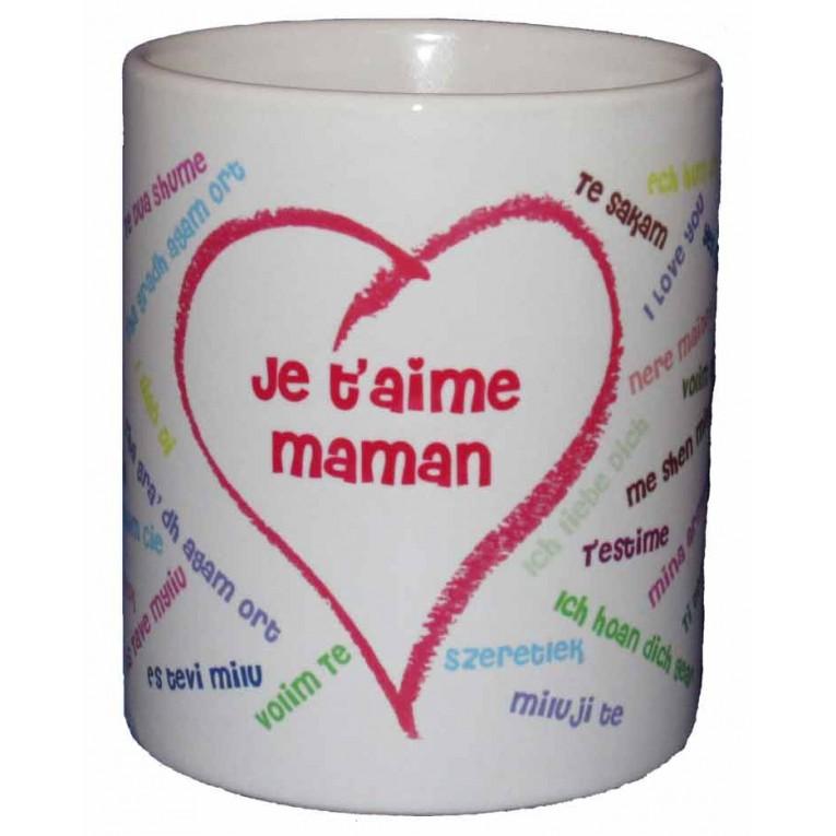 mug personnalis je t 39 aime dans toutes les langues. Black Bedroom Furniture Sets. Home Design Ideas