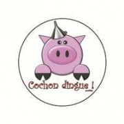 Badge cochon dingue 25 mm