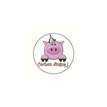 Badge cochon dingue 25 mm