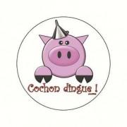 Badge cochon dingue 38 mm